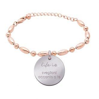 Bracciale Life Is Love in acciaio con medaglietta svegliarsi accanto a te B10826 For You Jewels