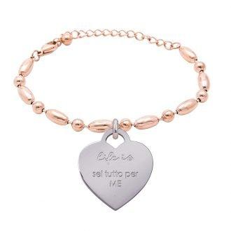 Bracciale Life Is Love in acciaio con medaglietta sei tutto per me B10827 For You Jewels