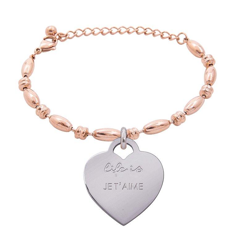 Bracciale Life Is Love in acciaio con medaglietta je t'aime B10829 For You Jewels