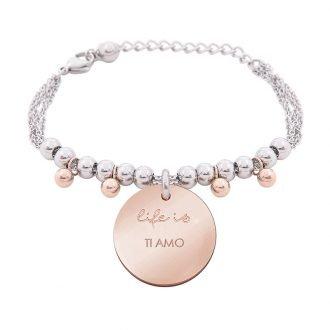 Bracciale Life Is Love in acciaio con medaglietta ti amo B10830 For You Jewels