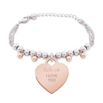 Bracciale Life Is Love in acciaio con medaglietta I love You B10831 For You Jewels
