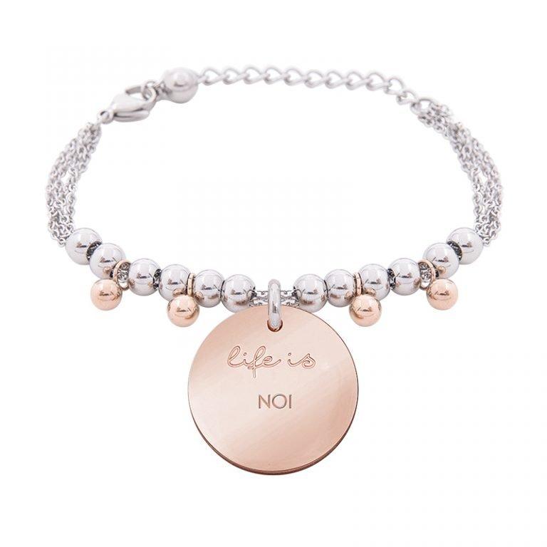 Bracciale Life Is Love in acciaio con medaglietta noi B10832 For You Jewels