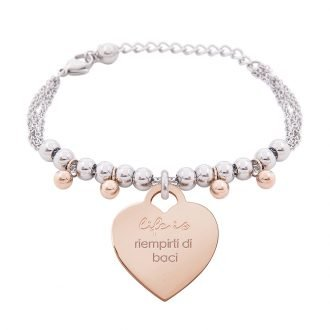 Bracciale Life Is Love in acciaio con medaglietta riempirti di baci B10833 For You Jewels