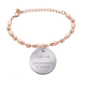 Bracciale Life Is Love in acciaio con medaglietta una promessa d'amore B10834 For You Jewels