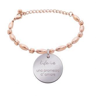 Bracciale Life Is Love in acciaio con medaglietta una promessa d'amore B10834 For You Jewels