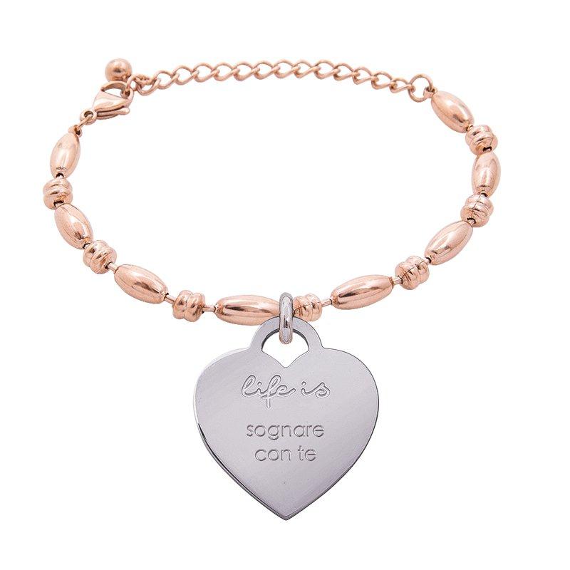Bracciale Life Is Love in acciaio con medaglietta sognare con te B10835 For You Jewels
