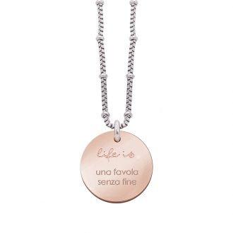 Collana Life Is Love in acciaio con medaglietta una favola senza fine N10820 For You Jewels