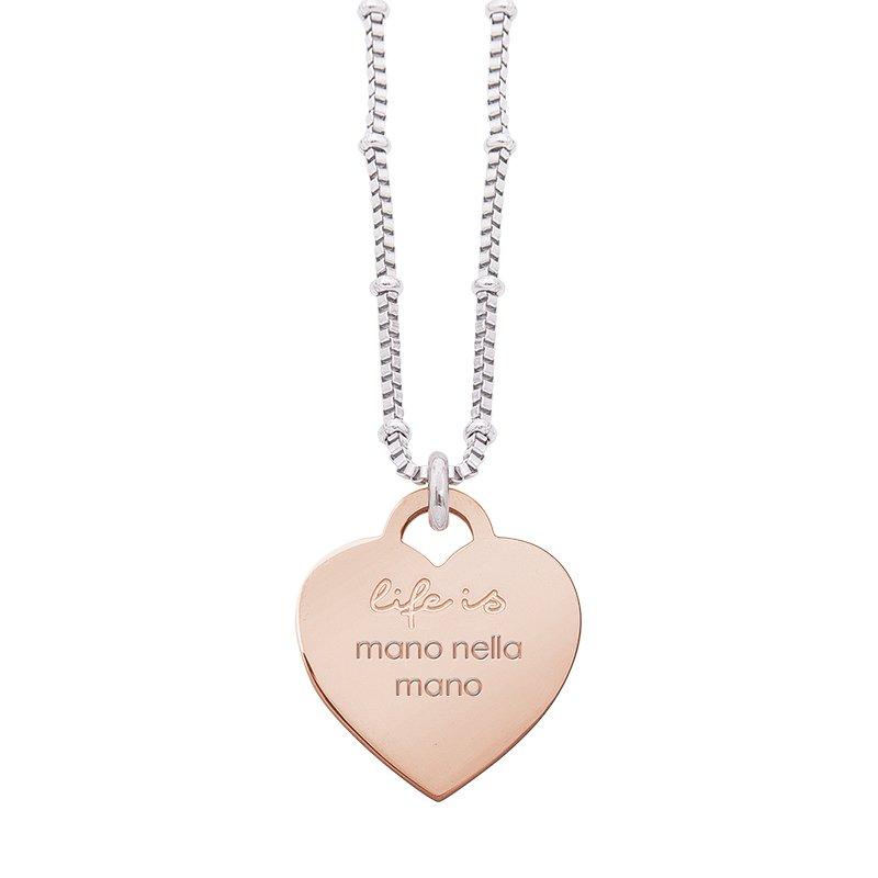 Collana Life Is Love in acciaio con medaglietta mano nella mano N10821 For You Jewels