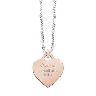 Collana Life Is Love in acciaio con medaglietta amarti alla follia N10822 For You Jewels