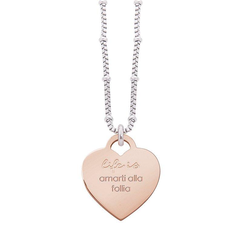 Collana Life Is Love in acciaio con medaglietta amarti alla follia N10822 For You Jewels