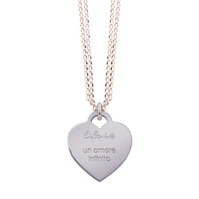 Collana Life Is Love in acciaio con medaglietta un amore infinito N10825 For You Jewels