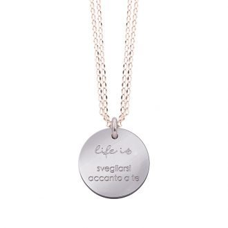 Collana Life Is Love in acciaio con medaglietta svegliarsi accanto a te N10826 For You Jewels