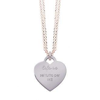 Collana Life Is Love in acciaio con medaglietta sei tutto per me N10827 For You Jewels
