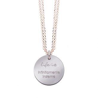 Collana Life Is Love in acciaio con medaglietta infinitamente insieme N10828 For You Jewels