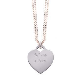 Collana Life Is Love in acciaio con medaglietta je t'aime N10829 For You Jewels