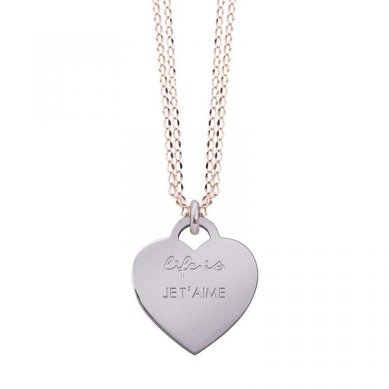 Collana Life Is Love in acciaio con medaglietta je t'aime N10829 For You Jewels
