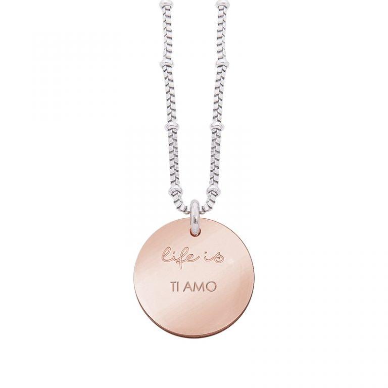 Collana Life Is Love in acciaio con medaglietta ti amo N10830 For You Jewels
