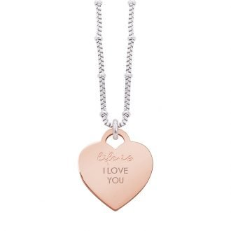 Collana Life Is Love in acciaio con medaglietta I love You N10831 For You Jewels
