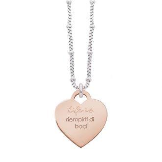 Collana Life Is Love in acciaio con medaglietta riempirti di baci N10833 For You Jewels