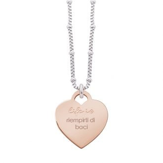 Collana Life Is Love in acciaio con medaglietta riempirti di baci N10833 For You Jewels