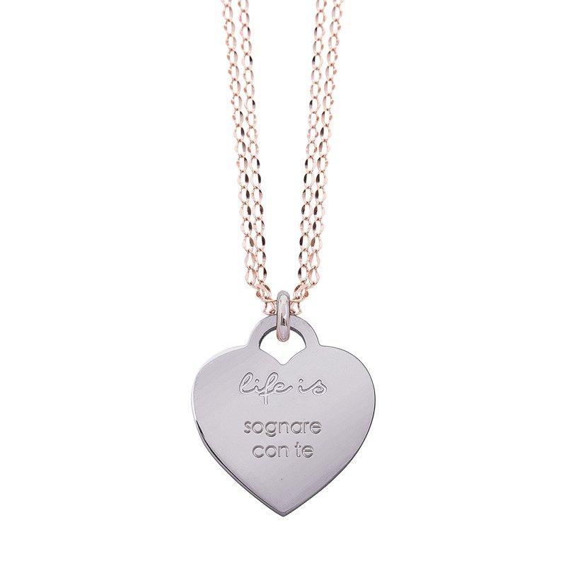 Collana Life Is Love in acciaio con medaglietta sognare con te N10835 For You Jewels