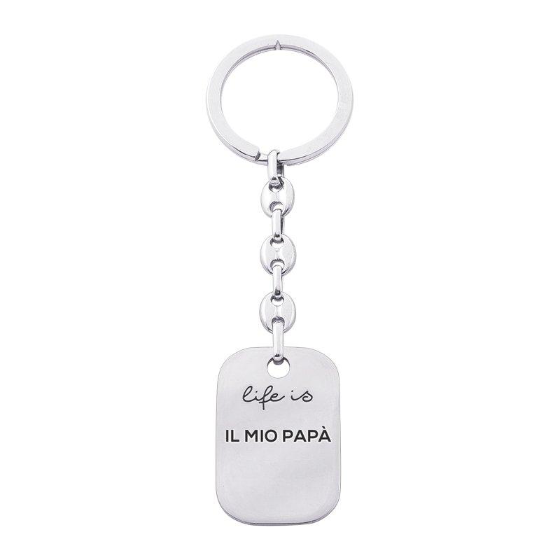 Portachiavi Life is Papà in acciaio - Il mio Papà K10865 For You Jewels