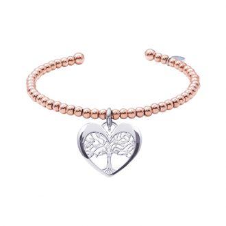 Life Sentimenti Bracciale in acciaio e IP oro rosa e charm in ottone rodiato con zirconi B14196 For You Jewels