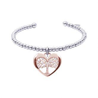 Life Sentimenti Bracciale in acciaio e charm in ottone rosato con zirconi B14197 For You Jewels