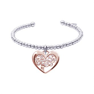 Life Sentimenti Bracciale in acciaio e charm in ottone rosato con zirconi B14199 For You Jewels
