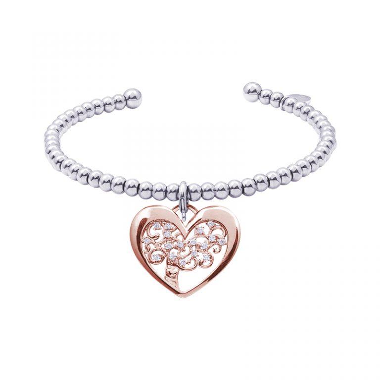 Life Sentimenti Bracciale in acciaio e charm in ottone rosato con zirconi B14199 For You Jewels