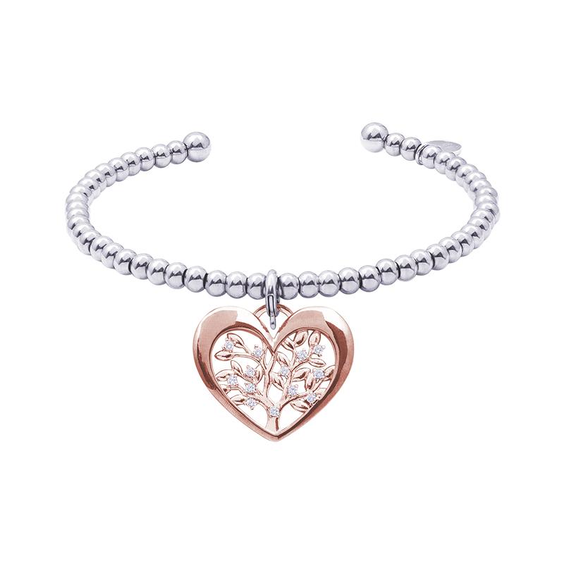 Life Sentimenti Bracciale in acciaio e charm in ottone rosato con zirconi B14201 For You Jewels