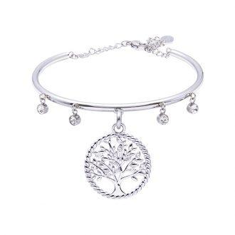 Life Sentimenti Bracciale in acciaio e cristalli con charm in ottone rodiato con zirconi B14190 For You Jewels