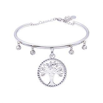 Life Sentimenti Bracciale in acciaio e cristalli con charm in ottone rodiato con zirconi B14192 For You Jewels