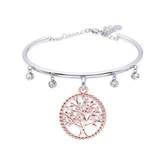 Life Sentimenti Bracciale in acciaio e cristalli con charm in ottone rosato con zirconi B14191 For You Jewels