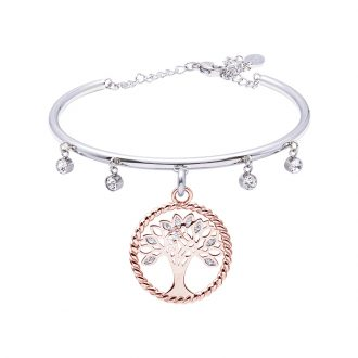 Life Sentimenti Bracciale in acciaio e cristalli con charm in ottone rosato con zirconi B14193 For You Jewels