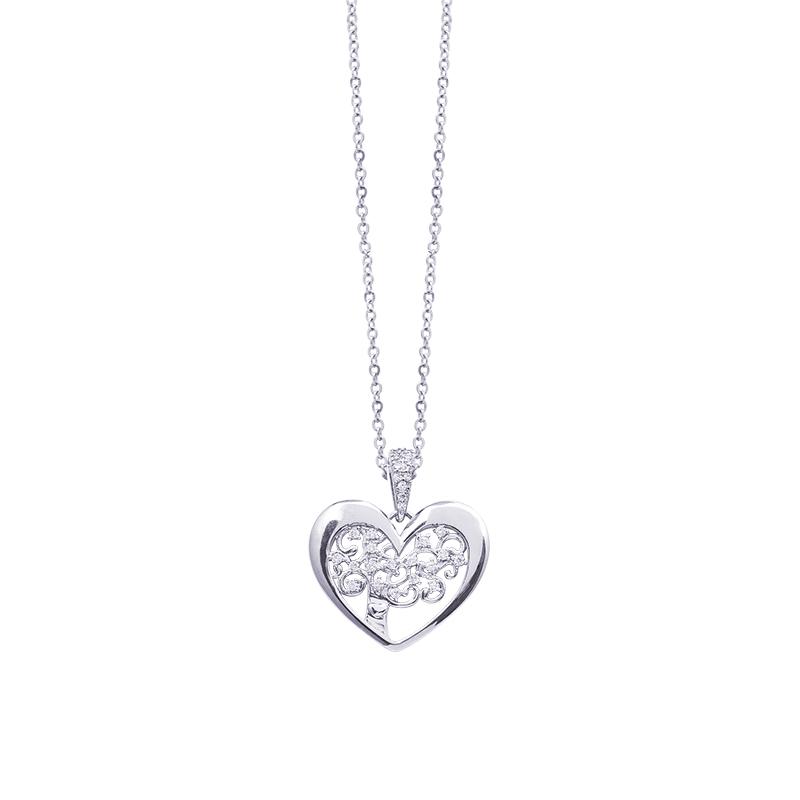 Life Sentimenti Catenina in acciaio e ciondolo in ottone rodiato con zirconi P14198 For You Jewels