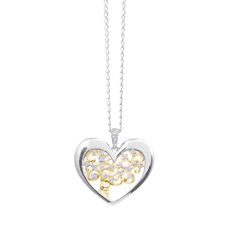 Life Sentimenti Catenina in acciaio e ciondolo in ottone rodiato e dorato con zirconi P14212 For You Jewels