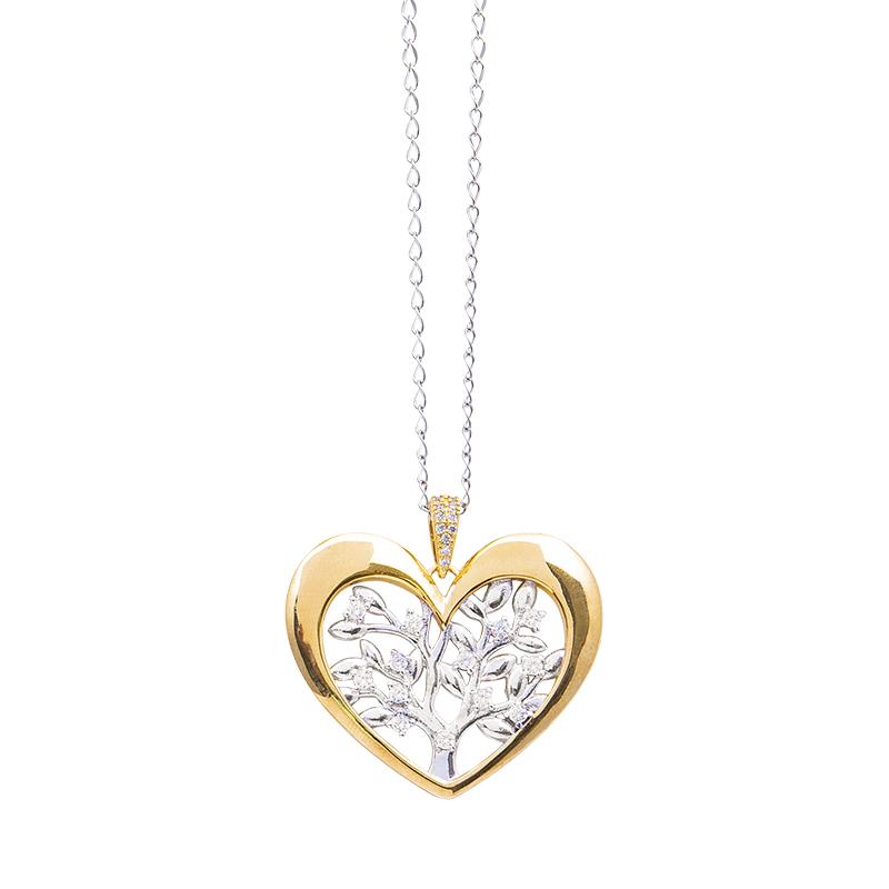 Life Sentimenti Catenina in acciaio e ciondolo in ottone rodiato e dorato con zirconi P14218 For You Jewels