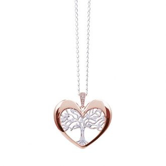 Life Sentimenti Catenina in acciaio e ciondolo in ottone rodiato e rosato con zirconi P14202 For You Jewels
