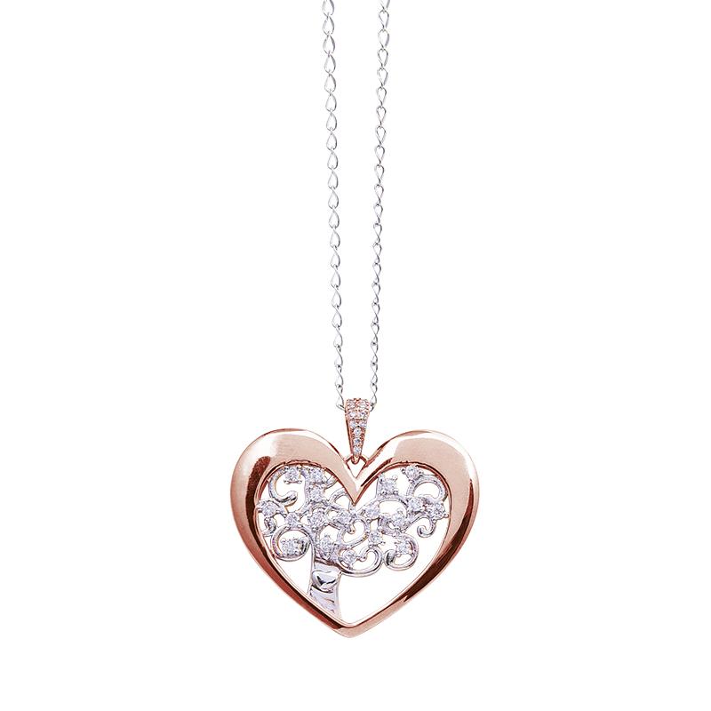 Life Sentimenti Catenina in acciaio e ciondolo in ottone rodiato e rosato con zirconi P14209 For You Jewels