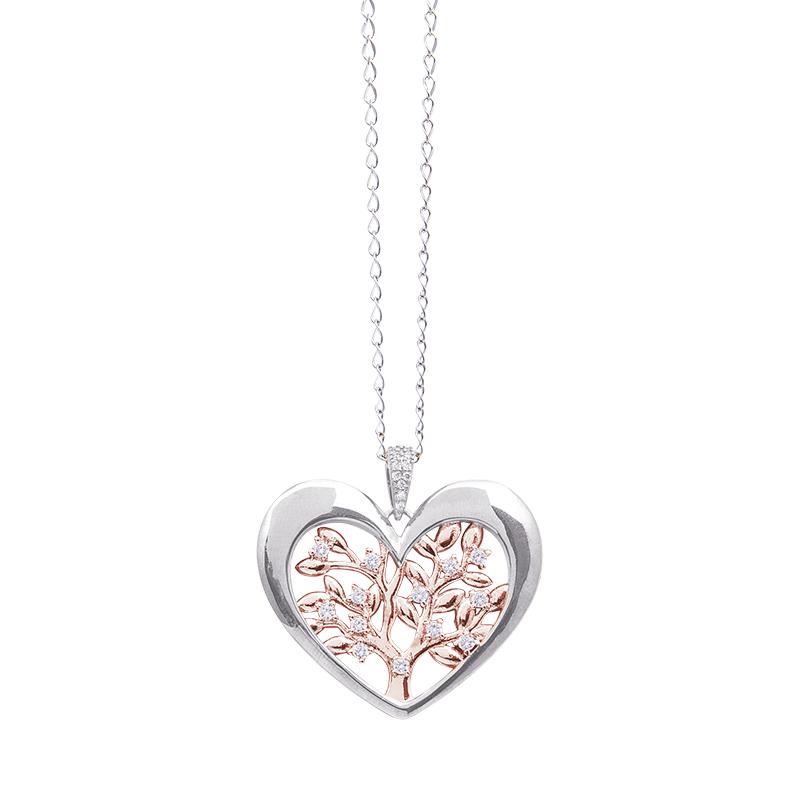 Life Sentimenti Catenina in acciaio e ciondolo in ottone rodiato e rosato con zirconi P14215 For You Jewels