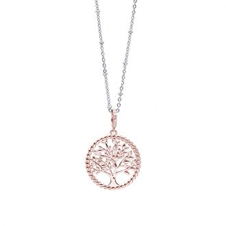 Life Sentimenti Catenina in acciaio e ciondolo in ottone rosato con zirconi P14191 For You Jewels