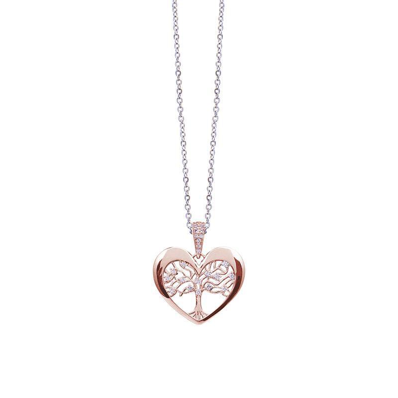 Life Sentimenti Catenina in acciaio e ciondolo in ottone rosato con zirconi P14197 For You Jewels