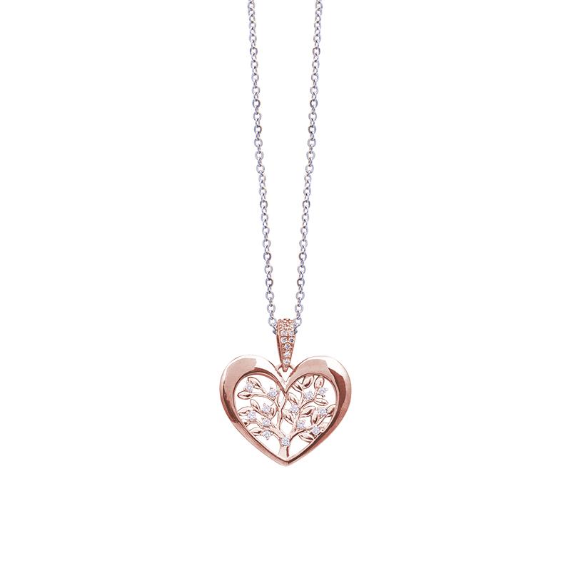 Life Sentimenti Catenina in acciaio e ciondolo in ottone rosato con zirconi P14201 For You Jewels
