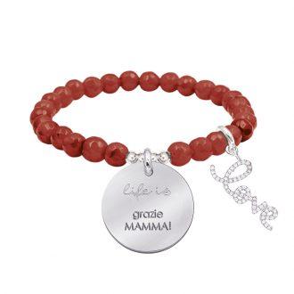 Life is dream bracciale elastico con agata sfaccettata medaglia in acciaio con incisione e charm con zirconi B14231 For You Jewels