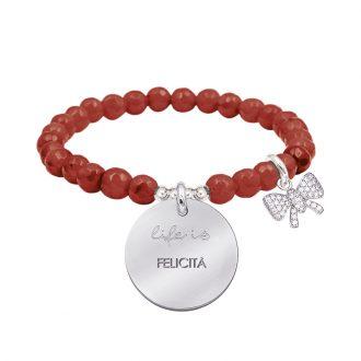 Life is dream bracciale elastico con agata sfaccettata medaglia in acciaio con incisione e charm con zirconi B14233 For You Jewels