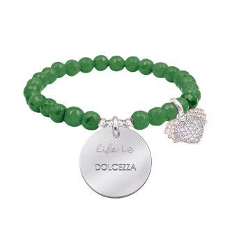 Life is dream bracciale elastico con agata sfaccettata medaglia in acciaio con incisione e charm con zirconi B14234 For You Jewels