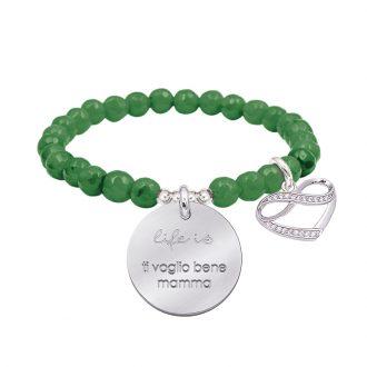 Life is dream bracciale elastico con agata sfaccettata medaglia in acciaio con incisione e charm con zirconi B14235 For You Jewels