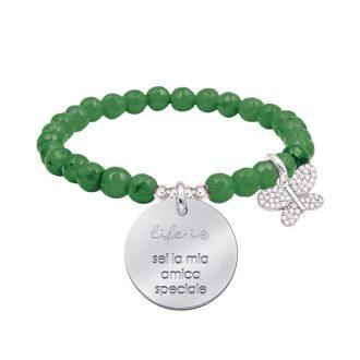 Life is dream bracciale elastico con agata sfaccettata medaglia in acciaio con incisione e charm con zirconi B14236 For You Jewels