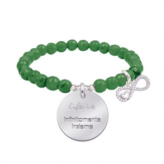 Life is dream bracciale elastico con agata sfaccettata medaglia in acciaio con incisione e charm con zirconi B14237 For You Jewels
